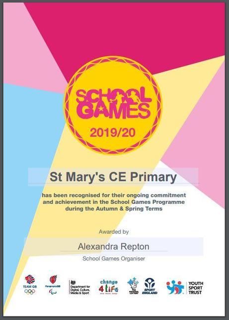 We are pleased to announce that St Mary's have been awarded The School Games Mark.