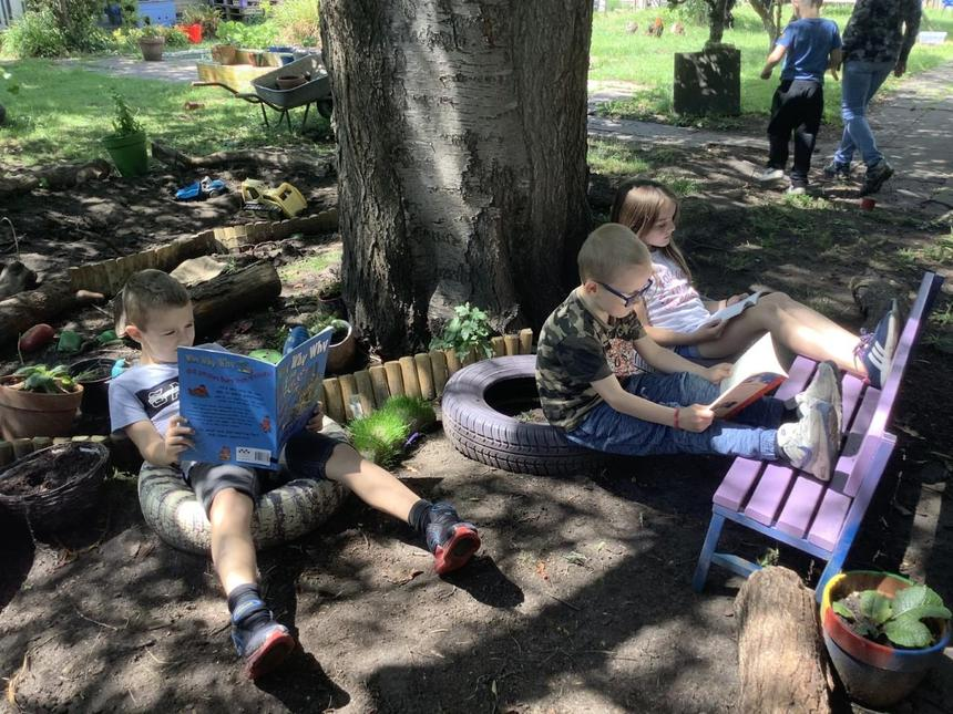 Reading in the shade