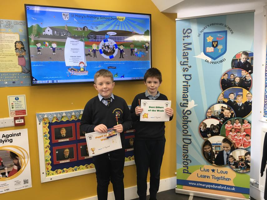Congratulations to Fionn and Sean for getting Pupil of the Wekk and Best Effort. Well Done