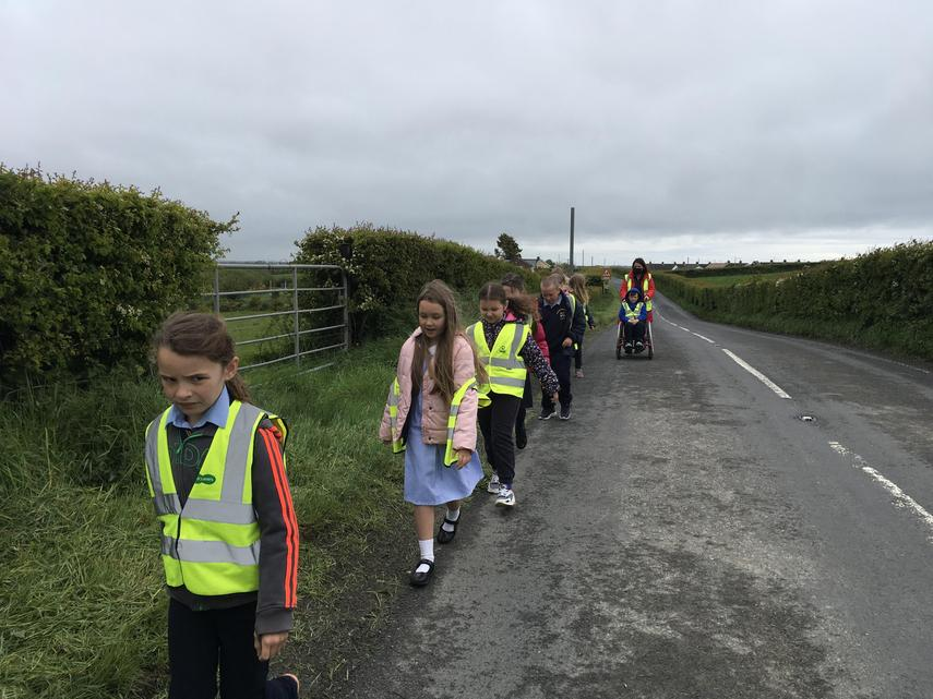 P4 walked to the Chapel for First Holy Communion Practice