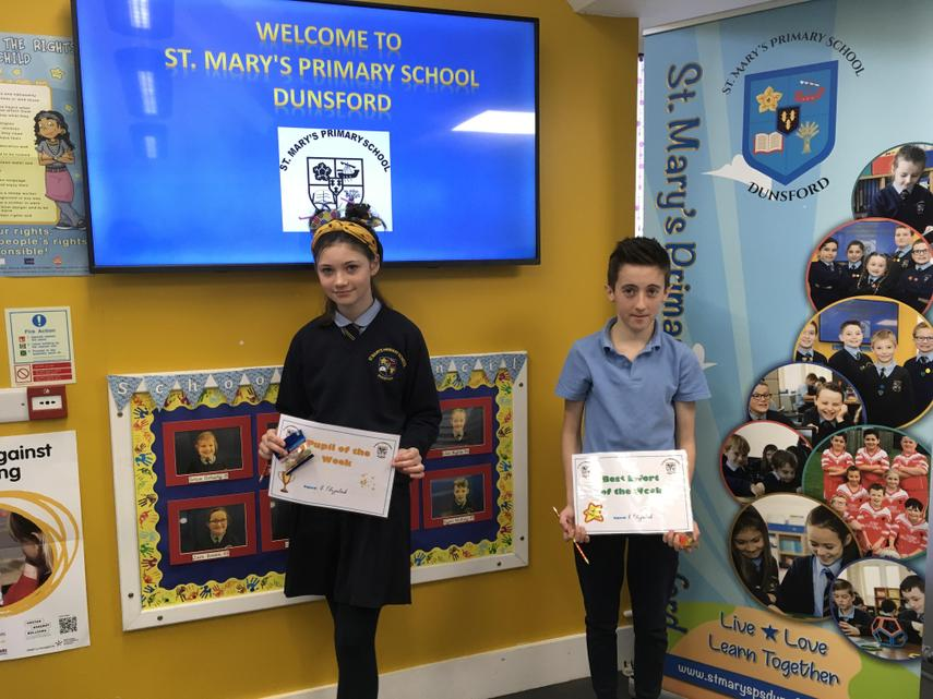 Great work in P7 this week especially from Teresa and Ethan our Star Pupils.