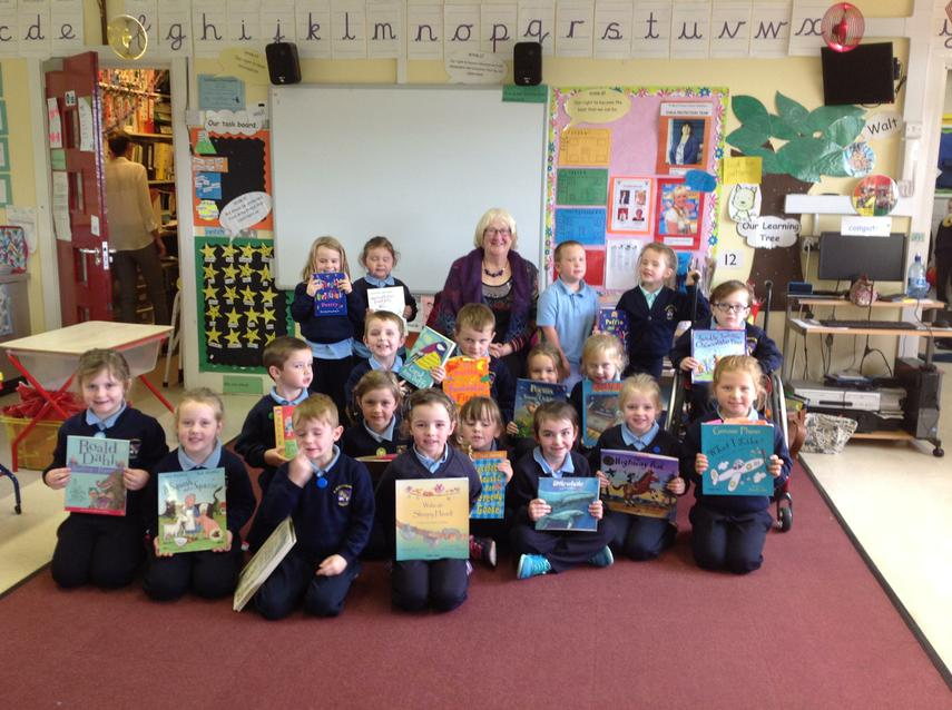 Maddie very kindly donated books to our school.