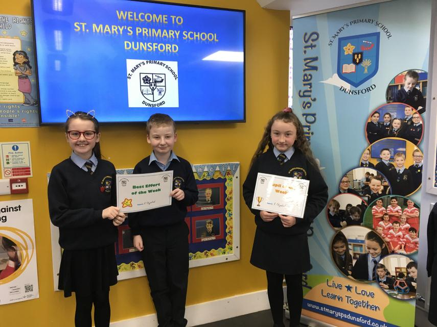 Well done to Ellie-Rose, Eily and Ruairi on all thier hard work this week in P7