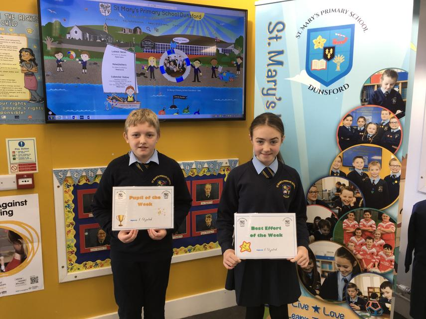 Well done to James and Lauryn on all their hardwork this week in P7.