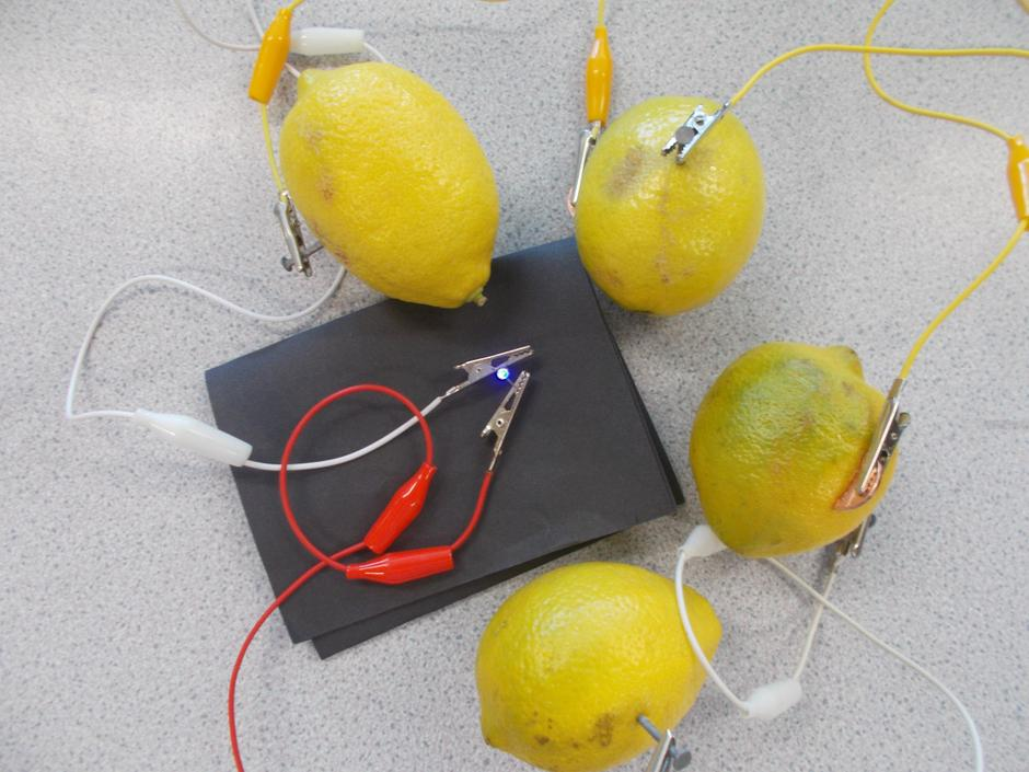 We have been learning about electricity.  We made a circuit using lemons to light an LED.