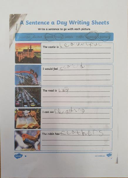 Myles has been writing sentences to go with the pictures
