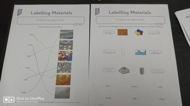 Theo labelled the materials.