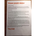 Enzo has typed up a fantastic newspaper report about the Crown Jewels being stolen!