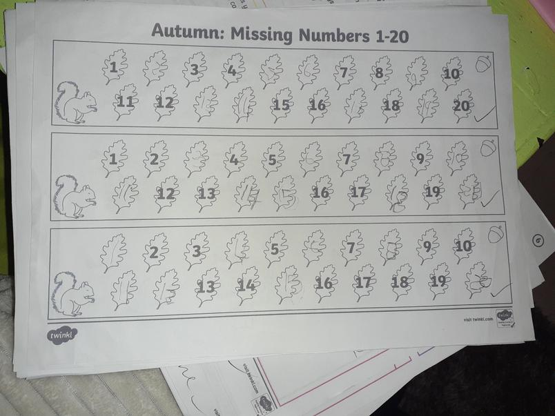 Zack has filled in the missing numbers to 20.