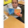Jacob has been working really hard to create a picture using warm and cold colours!