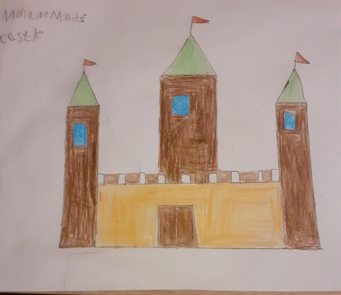 Mohammad has drawn a castle for his homework task.
