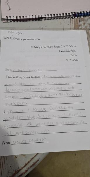 Mayce has written a persuasive letter to persuade Mrs Eaglen not to cancel playtime.