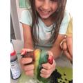 Amber made a fruit volcano