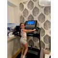 Mia ran 2 km on the treadmill!