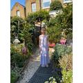 Mia in her garden.