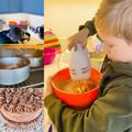 Mason baking a birthday cake for Dad.