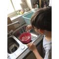 Sami making bath bombs
