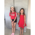 Amber and her sister in red for St George's Day!