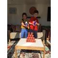 Brooke has been playing a Nerf gun maths game!