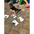 Benjamin testing shadows in the garden