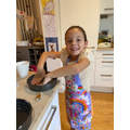 Mia baking.