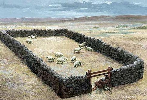 Shepherd at the gate guarding his sheep.