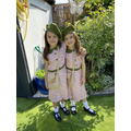 Lola and Mia dressed up as evacuees for VE day