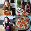 Jessie making pizza with her sister