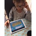 Benjamin doing some Spelling Shed