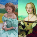 Rosie recreated Raphael's Young Lady With Unicorn.