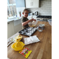 Ruby doing some baking.