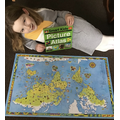 Ava has completed a puzzle of a world map
