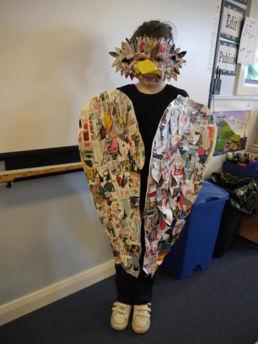 Tara made her bird costume from recycled paper!