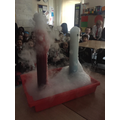 Volcano explosion with dry ice