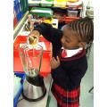 Making a fruit smoothie
