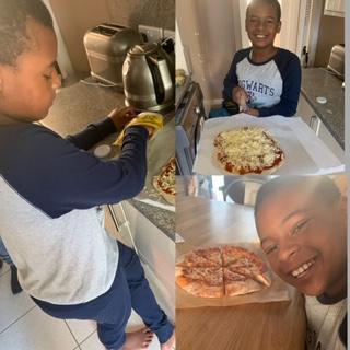 Home made pizzas. Delicious!