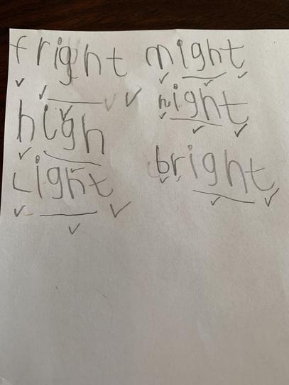 Phonics 'igh' words by Cian