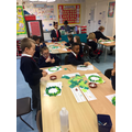 Making our Christmas hoop craft