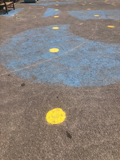 Children on yellow dots