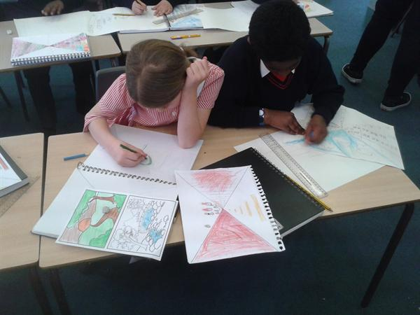 Pupils working on their Perspective topic