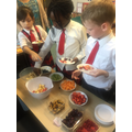 We made fruit salads to end off our DT topic