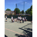 Practising for Sports Day in PE