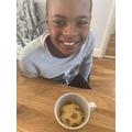 Following a recipe to make a yummy cake in a mug!