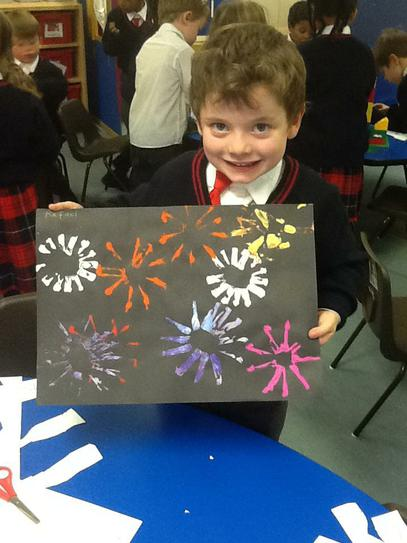 Rafa is very proud of his firework painting