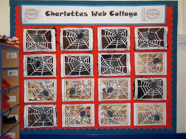 Spiders art work inspired by Charlotte's Web