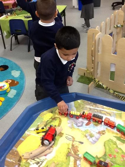 We love playing with the trains!
