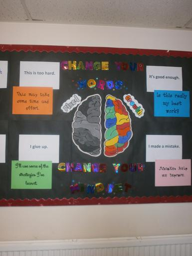 Growth mindset display in school.