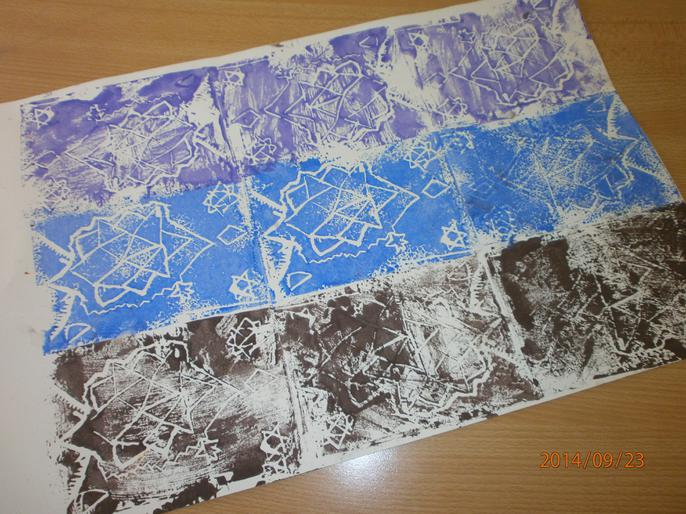 Islamic art using lino block printing.