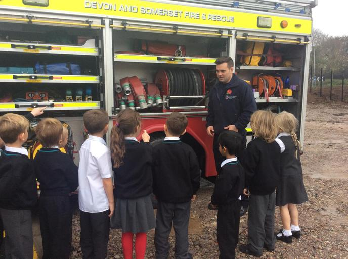 We saw all the equipment in the fire engine.