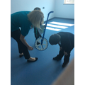 Using a trundle wheel to help us measure